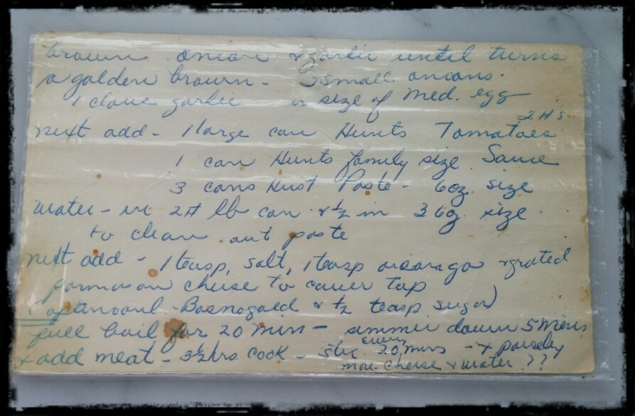 Spaghetti and Meatballs Vintage Recipe Card