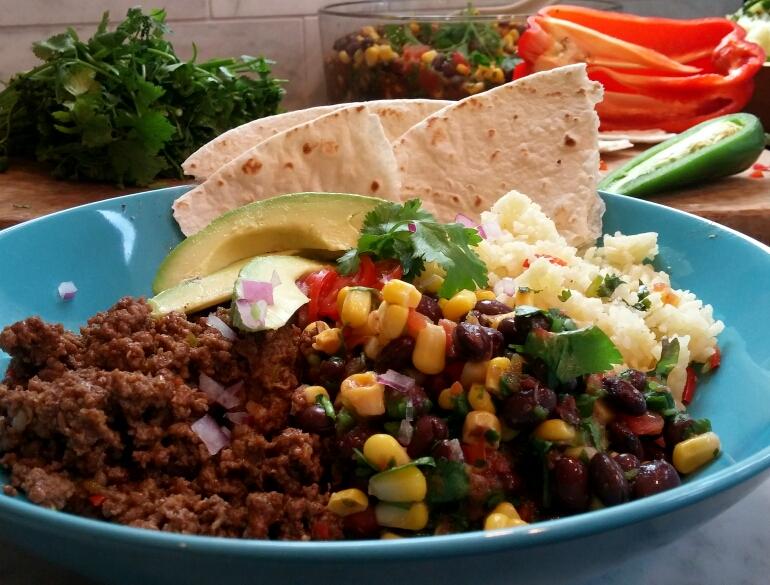 Burrito Bowl with Black Bean Dip