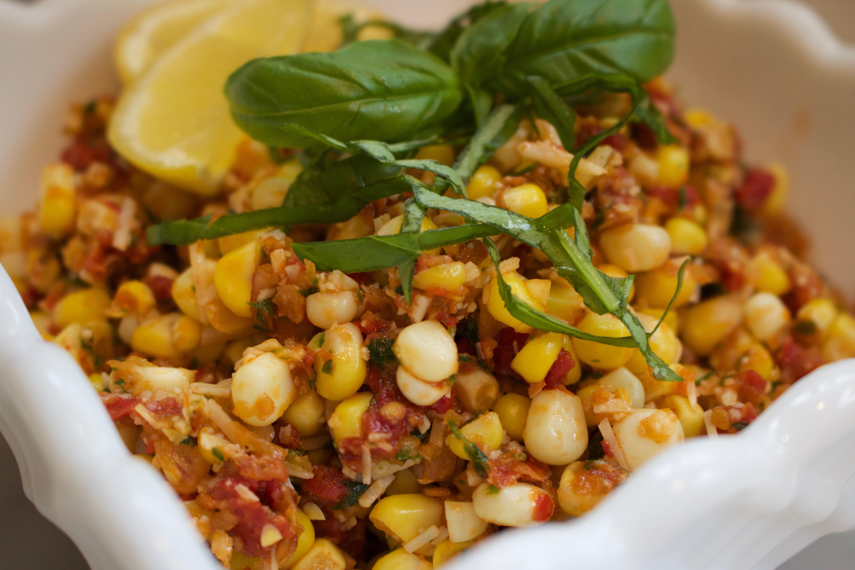 Corn salad with sun dried tomatoes and basil