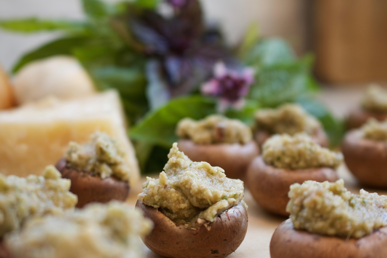 Basil, Parmesan Cheese and Breadcrumbs Stuffed Mushroom Caps
