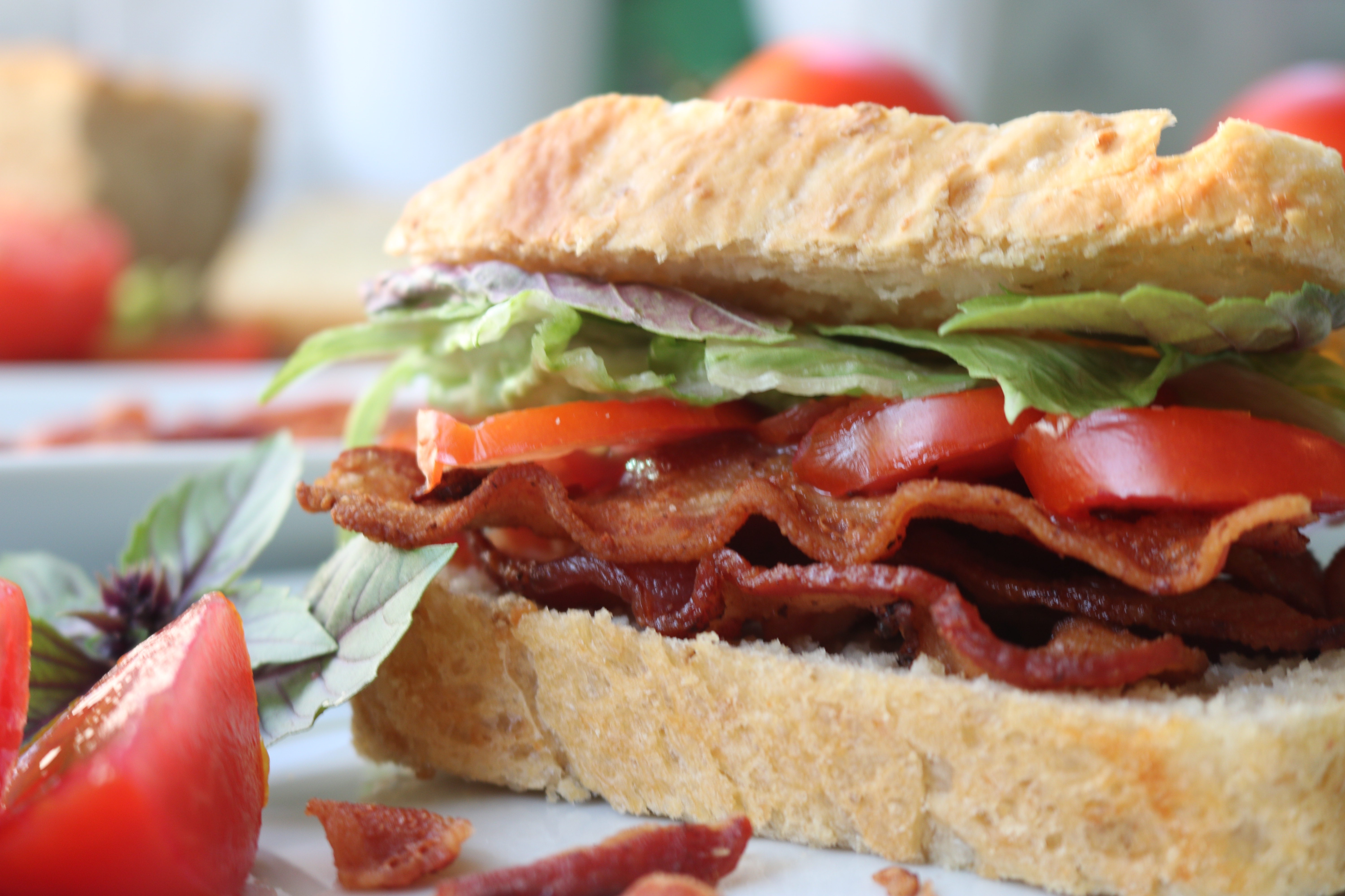 BLT with garden fresh tomatoes and homemade bread
