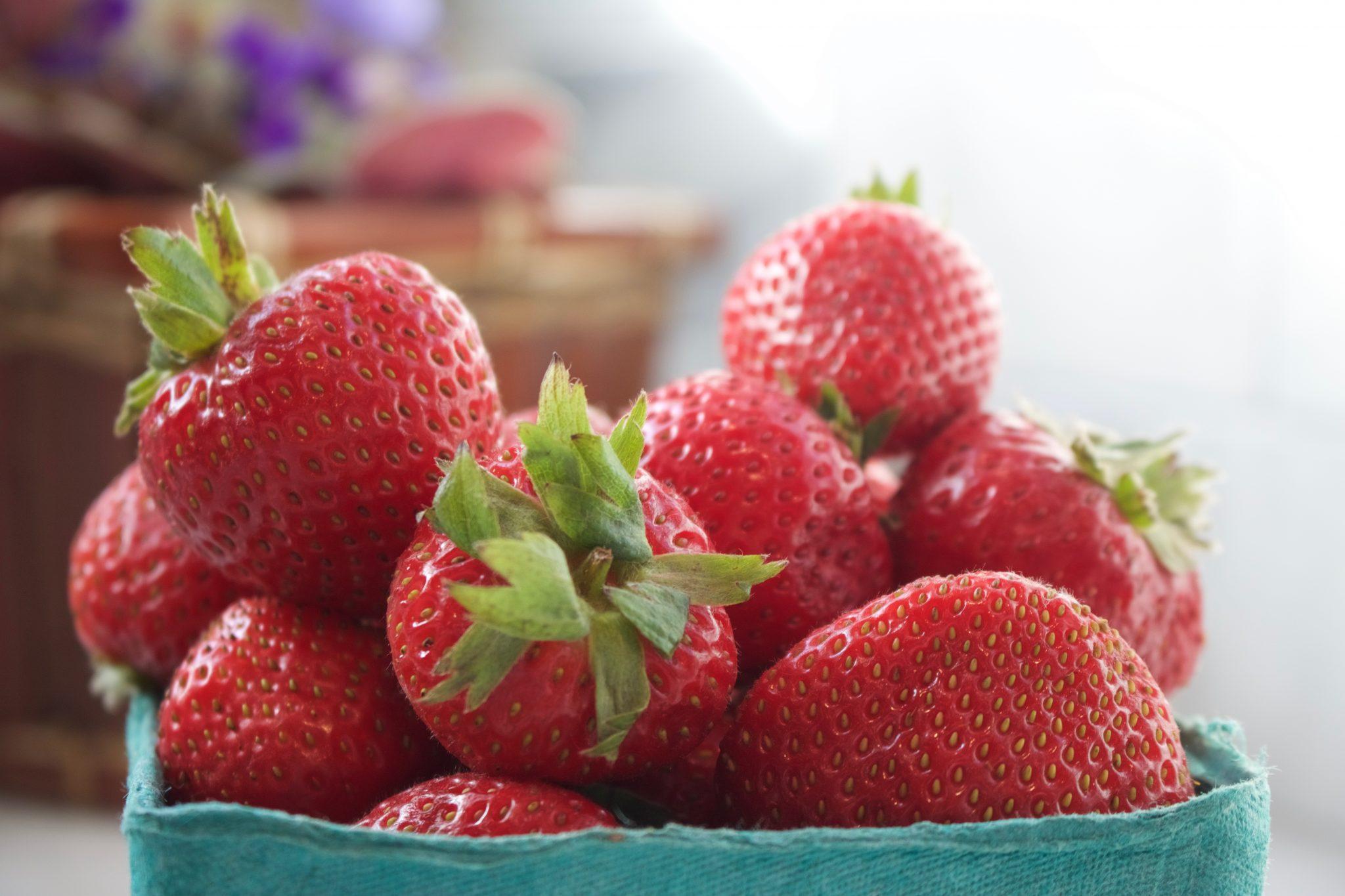 Ripe Red Fresh Whole Strawberries