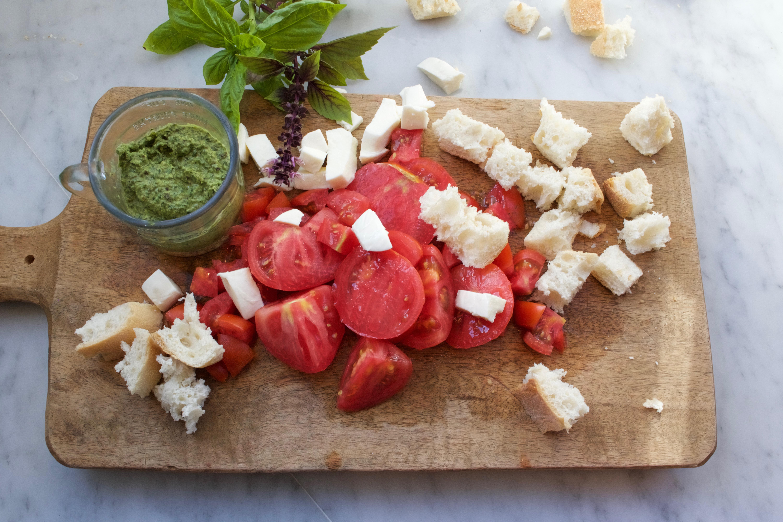 Basil Pesto Caprese Bread Salad