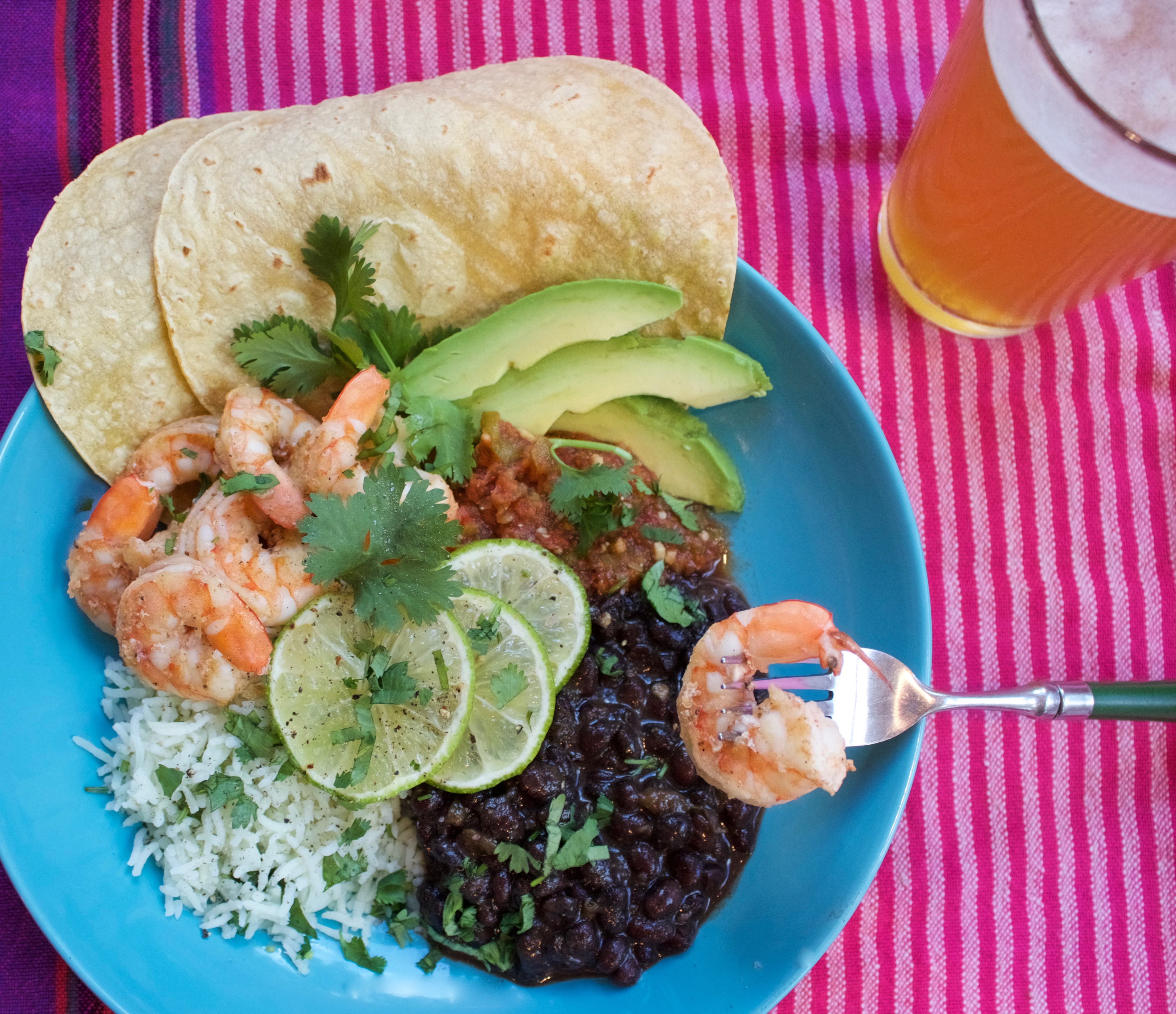 Pressure cooker black beans and cilantro lime rice