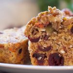 healthy muffin with nuts seeds veggies and fruit