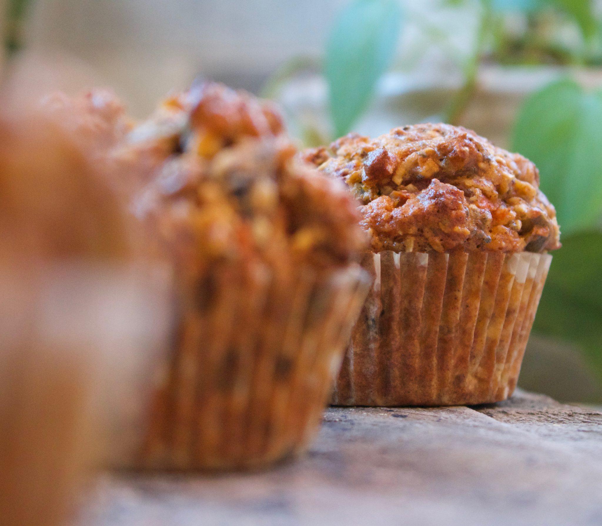 healthy muffins with nuts, seeds, fruit