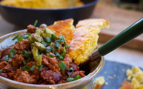 Chili, beans, cornbread