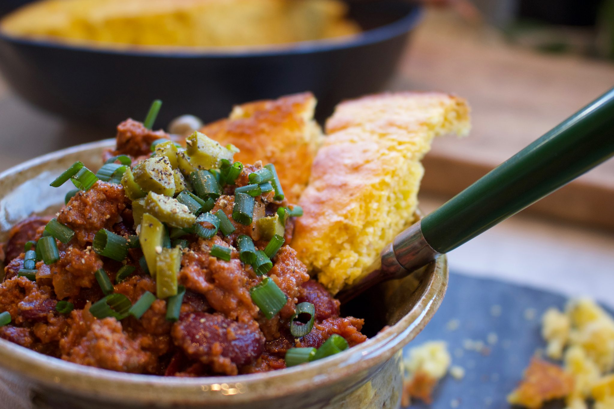 quick and easy to prepare Chili, beans, cornbread