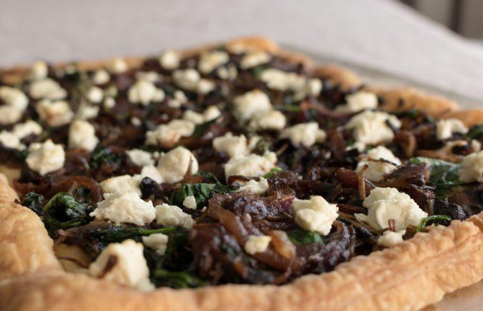 Caramelized onion-mushroom goat cheese tart