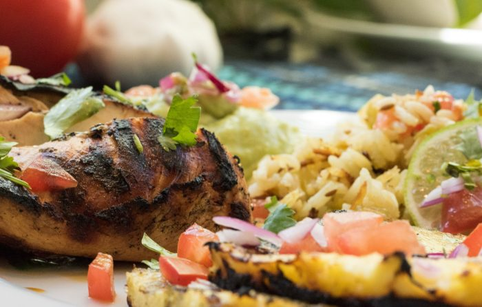 Margarita Chicken with grilled pineapple and cilantro lime rice