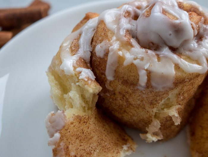 Up close of cinnamon roll