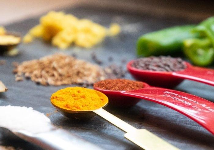 turmeric, black mustard seed, paprika