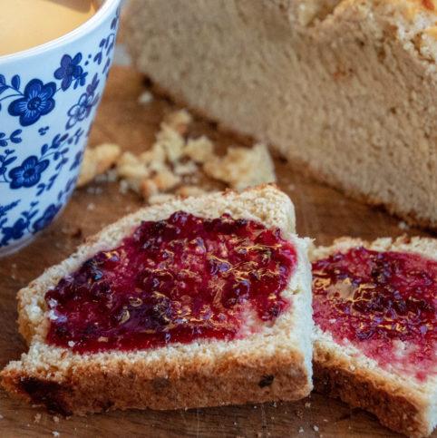 Slices of Irish Soda Bread with blackberry jelly