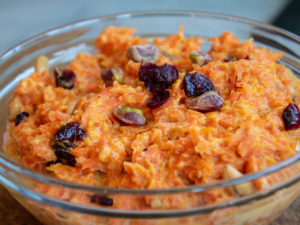 Carrot Halwa garnished with pistachios, dried cranberries and saffron