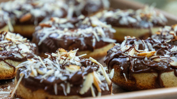 Keto chocolate almond coconut donut