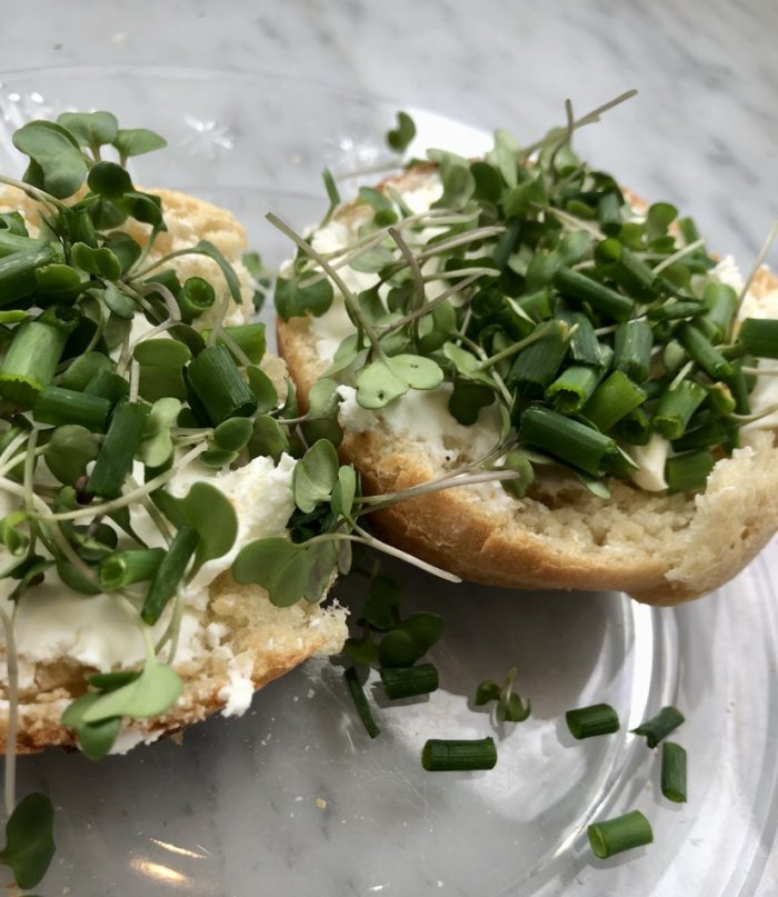 Open homemade oven-baked English muffin with cream cheese, microgreens, and fresh chives